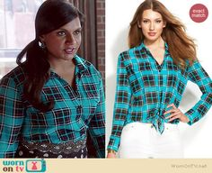 Mindy's blue plaid shirt on The Mindy Project.  Outfit Details: http://wornontv.net/37439/ #TheMindyProject