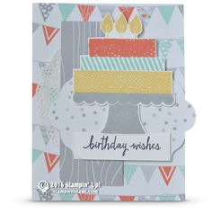 CARD: Build a Birthday Cake – Birthday Wishes card | Stampin Up Demonstrator - Tami White——— S U P P L I E S ———  • Build A Birthday Photopolymer Stamp Set #138646 • Calypso Coral Classic Stampin' Pad #126983 • Pool Party Classic Stampin' Pad #126982 • So Saffron Classic Stampin' Pad #126957 • Whisper White 8-1/2X11 Card Stock #100730 • A Little Foxy Designer Series Paper Stack #141637 • Delicate White Doilies #141701 • Lots Of Labels Framelits Dies #138281 • Punch Corner Project Life #13534...