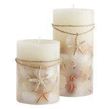 Ivory Coconut Isles™ Shell Pillar Candles