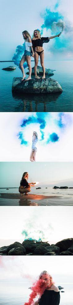 Smoke Bomb Photoshoot Beach - Pantel Photography