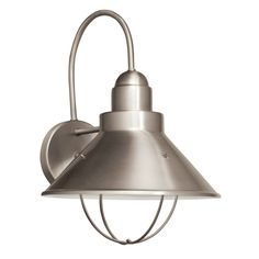 """Kichler 11099 Seaside 1 Light 14"""" Energy Efficient Fluorescent Outdoor Wall Ligh Brushed Nickel Outdoor Lighting Wall Sconces NULL"""