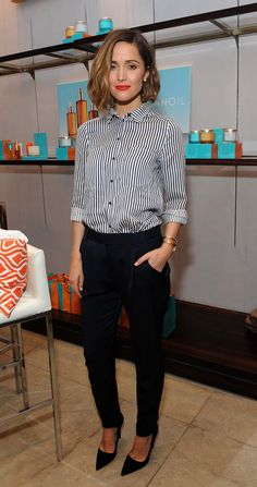 Rose Byrne looks buttoned-up and beautiful in monochrome vertical stripes.
