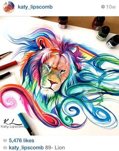 Lion marker drawing by Katy Lipscomb Art from Alpharetta, United States Art Sketches, Art Drawings, Marker Drawings, Art Du Croquis, Pencil Drawings Of Animals, Disney Artwork, Colorful Animals, Beautiful Drawings, Pencil Art