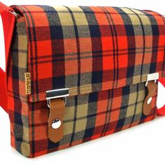 Small messenger bag - vintage red and tan plaid