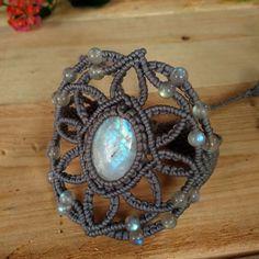 Macrame Bracelet Shamballa Cabochon Moonstone Waxed Cord Handmade Handwoven #Handmade #Wrap