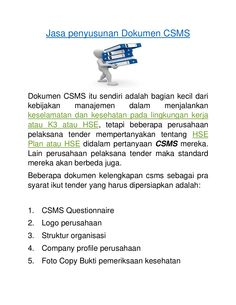 KONSULTAN DOKUMEN CSMS MURAH I telp 0813801 63185 by DP Konsultan via slideshare