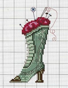 0 point de croix botte et aiguilles de couture - cross stitch boot with sewing needles