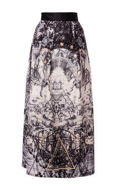 Printed Jacquard A Line Midi Skirt by HUSSEIN BAZAZA for Preorder on Moda Operandi