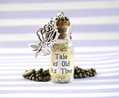 Tale as old as Time Bottle Pendant Necklace, miniature jewellery, inspiration, Beauty and the Beast, magic