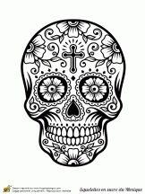 Coloriage crânes en sucre du mexique sur Hugolescargot.com