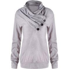 Gray XL Tunic Heap Collar Buttons Sweatshirt ($12) ❤ liked on Polyvore featuring tops, button top, gray top, collar top and grey top
