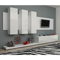 Furniture / Modern Wall Units / Living Room / TV Cabinets / TV Stands in Home & Garden, Furniture, Entertainment Units, TV Stands Living Room Tv Wall, Living Room Tv, Modern Wall Units, Modern Furniture, Living Room Designs, Tv Room, Wall Unit, White Furniture Living Room, Living Room Tv Cabinet