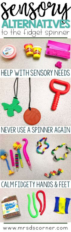 Alternatives to the fidget spinner that calm fidgety hands and feet. Help students with their sensory needs without the use of a fidget spinner. Blog post at Mrs. D's Corner.