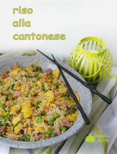 riso alla cantonese preparato con il bimby Focaccia Pizza, Best Italian Recipes, Orzo, Couscous, Sushi, Food And Drink, Yummy Food, Cooking, Ethnic Recipes