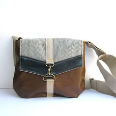 satchel > > cognac brown crossbody bag < < brown vegan leather - gray herringbone canvas - navy blue