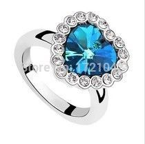 the influx of people to the Titanic Heart of Ocean Blue imitation gemstones Crystal wedding rings for women shipping