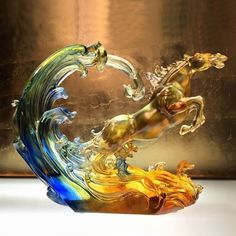 """Horse Figurine (Leadership) - """"Lead a Thousand Troops by Inciting Wind and Water"""" Blown Glass Art, Art Of Glass, Cut Glass, Cristal Art, Stained Glass Ornaments, Horse Sculpture, Glass Collection, Horse Art, Glass Design"""