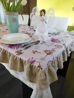 Linen tablecloth by shabby.romantic / Ľanový obrus Poesie II