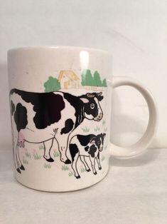 Mug Ceramic Cow Calf Country Farm White 3 Cow Ornaments, Country Farm, Mug Cup, Cup And Saucer, Calves, Coffee Mugs, Cups, Ceramics, Tableware