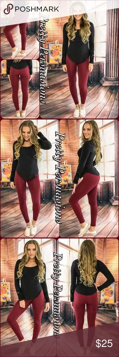 """NWT Cranberry Fleece Lined Body Shaping Leggings NWT Cranberry Fleece Lined Body Shaping Leggings    Available in sizes: S/M & L/XL  Length: 37""""  • high waist • ankle length • fleece lined • body shaping  • extremely soft, warm & comfortable • stretchy material   Material Content: Nylon/Spandex  * Also available in black *  A must have closet staple!  Perfect for any occasion.   Bundle discounts available  No pp or trades  Item # 1/101070250CFL black leggings cranberry red wine burgundy…"""