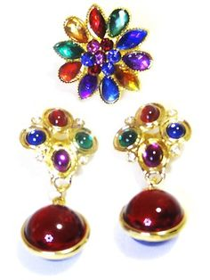 FASHION JEWELRY SUMMER MULTI-COLORED RHINESTONES RUNWAY DANGLE & ADJ RING NEW!