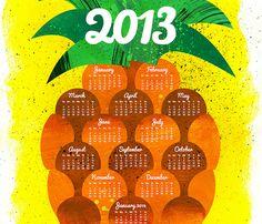 Pineapple tea towel calendar by Aldea Wood