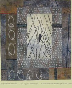 "Image of ""Birdsong 1 - Yearning"" quilt by Sonia Grasvik."