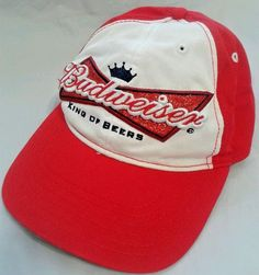 Budweiser King Of Beers Hat Cap Glitter Red White Ladies a516c9269487