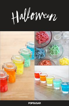 You may have seen or attemped Skittles-infused vodka, but if you're looking to spook your tastebuds this Halloween, then you've got to try these Sour Patch Kids rainbow shots, made from infusing the sour-sweet candies into vodka. Punch Recipes, Alcohol Recipes, Pasteles Halloween, Infused Vodka, Vodka Lime, Lime Juice, Halloween Cocktails, Summer Cocktails, Cocktail Drinks