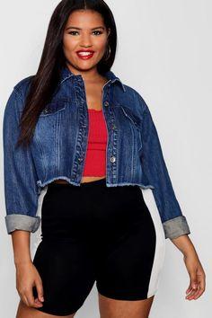 4fa3377196de9 Plus Cropped Frayed Hem Denim Jacket - boohoo, outfit ideas, fashion,  trends,