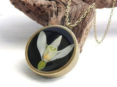 Real Snowdrop Resin Necklace, Real Flower, Resin Pendant