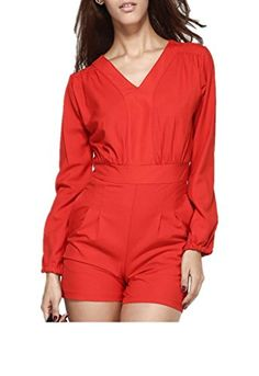 c8ab661dfaed Dear-lover Women s Long Sleeves Romper Shorts with Pockets Cotton Jumpsuit