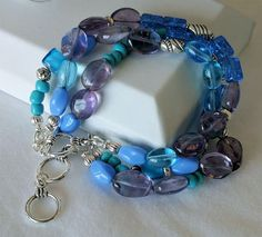 Triple Strand Purple (Amethyst), Blue, Turquoise Beaded Bracelet with Toggle Clasp