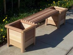 outdoor wood bench with planter boxes