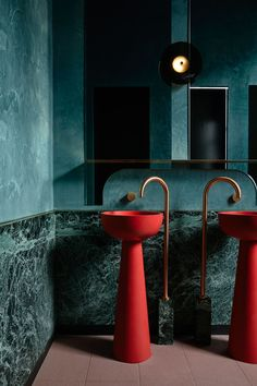 Poodle Bar & Bistro in Melbourne by Bergman & Co | Yellowtrace Bar Bistro, Stained Brick, Melbourne Bars, Unisex Bathroom, Private Dining Room, Victorian Terrace, Toilet Design, Little Designs, Pop Design