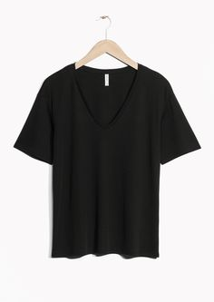 & Other Stories image 2 of V-Neck Cotton T-Shirt in Black