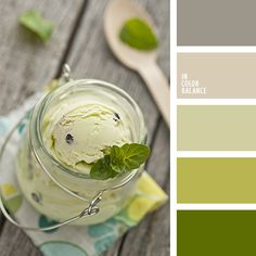 Weekend Must-Have: Creamy, Dairy-Free Mint Chocolate Ice Cream Scheme Color, Colour Pallette, Color Palate, Colour Schemes, Color Combos, Pistachio Color, Green Colors, Colours, Colour Board