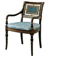 Alexandra Armchair ($1,750) ❤ liked on Polyvore featuring home, furniture, chairs, accent chairs, blue chair, blue arm chair, painted chairs, handpainted furniture and blue armchair
