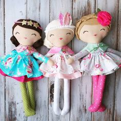"""Getting all dolled up for Saturday's release. I love their new Springy attire.  #spuncandydolls #handmadedolls #fabricdolls #clothdolls…"""