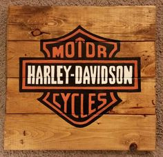 Harley Davidson Handcrafted And Hand Painted Wood Sign.  FREE SHIPPING!!! by CraftsbyMichelleMD on Etsy