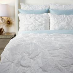 Our Astoria Bedding set is made of voile, the softest cotton, and ruched in a diamond pattern for an especially luxe feel.