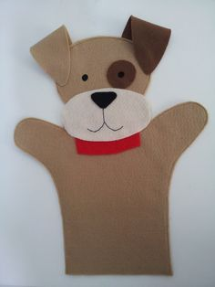 Fantoche no tema Animais da Fazenda: Cachorro.  Confeccionado em feltro.