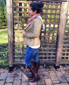 Boots from Macy's, brand is Guess // Jeans, shirt, and scarf from Abercrombie and Fitch // Jacket from Lord and Taylor, brand is collectionb // all jewelry from Lucky