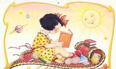 Mary Engelbreit is known for her distinctive illustrations, featured on best-selling calendars, children's books, greeting cards, figurines and more! Mary Engelbreit, Reading Art, Magic Carpet, Illustrations, Book People, I Love Books, Country Girls, Cute Art, Childrens Books