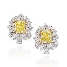A pair of fancy coloured diamond and diamond earrings