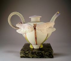beautiful dragonfly tea pot