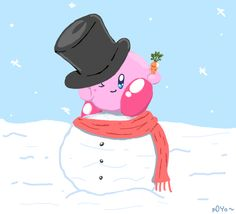 Kirby in snowww by p0Yo