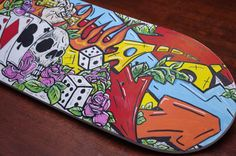 Posca pen art on skateboard http://www.alisonarts.com.au