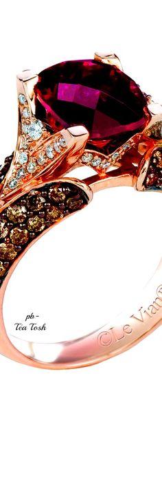 ❇Téa Tosh❇Le Vian, Cushion Cut Raspberry Rhodolite Garnet, set in 14k. Strawberry Gold, with Vanilla & Chocolate Diamonds.