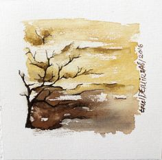 Smail Watercolor landscape painting Abstract by EmelArt on Etsy by Gloveshop Watercolor Paintings Nature, Watercolor Painting Techniques, Watercolor Trees, Abstract Watercolor, Artist Painting, Watercolor Paper, Painting Abstract, Abstract Landscape, Landscape Design